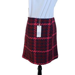 NWT TOM TAILOR Red Purple Pink Lined Wool Skirt 4